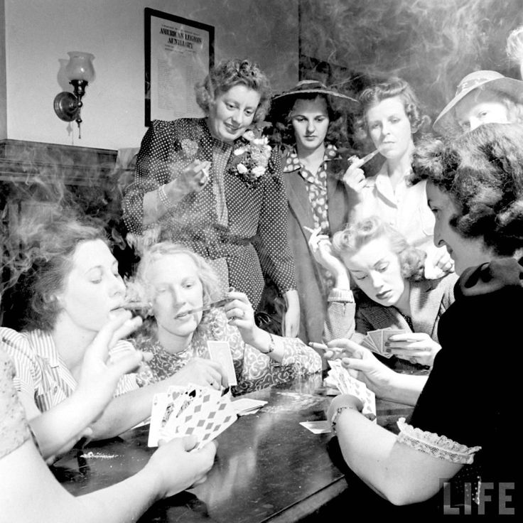 """Ladies' Smoker Night, 1941. The article begins: """"On the evening of May 20, members of the Young Women's Republican Club of Milford, Conn., explored the pleasures of tobacco, poker, the strip tease … as had frequently cost them the evening companionship of husbands, sons and brothers…"""""""
