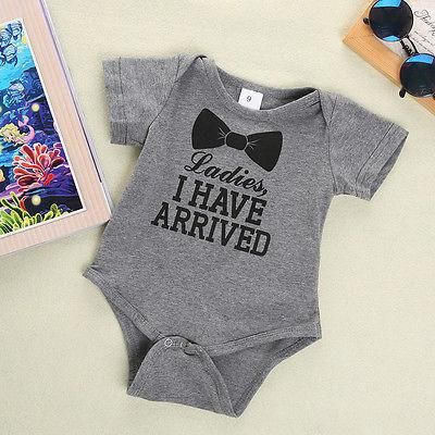 New Baby Infant Boys Girls Bowtie Quote Romper Bodysuit Playsuit Outfits  Clothing Clothes Features: Soft cotton material! A cute bodysuit for baby  to wear ...
