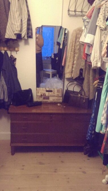 New purchase. Low dresser with mirror. Custom made in 1958, it's in beautiful condition.