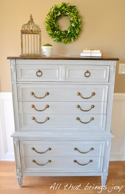 Painted Furniture   Paris Gray With White Dry Brushed Finished