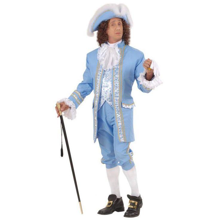 Ce déguisement de marquis typique de la cour Anglaise du XVIIIe siècle est composé d'une veste, d'un pantalon, d'un jabot, d'un chapeau et d'une paire de boucles pour chaussures. Disponible en taille S, M, L et XL. La veste est de couleur bleu ciel, entiè