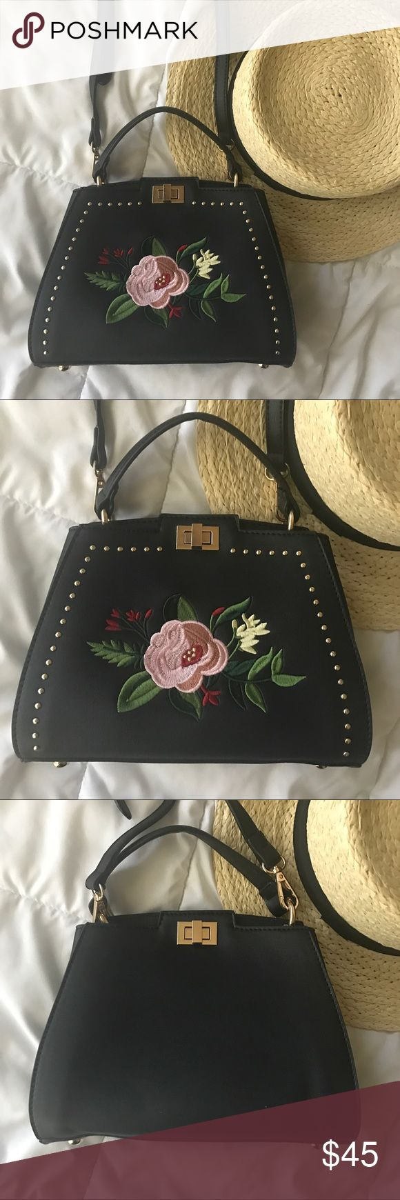 "NWT EMBROIDERED BAG New with tags super cute embroidered crossbody bag with gold studs. 6"" x 8"" x 3"".     Boutique brand Bags Crossbody Bags"