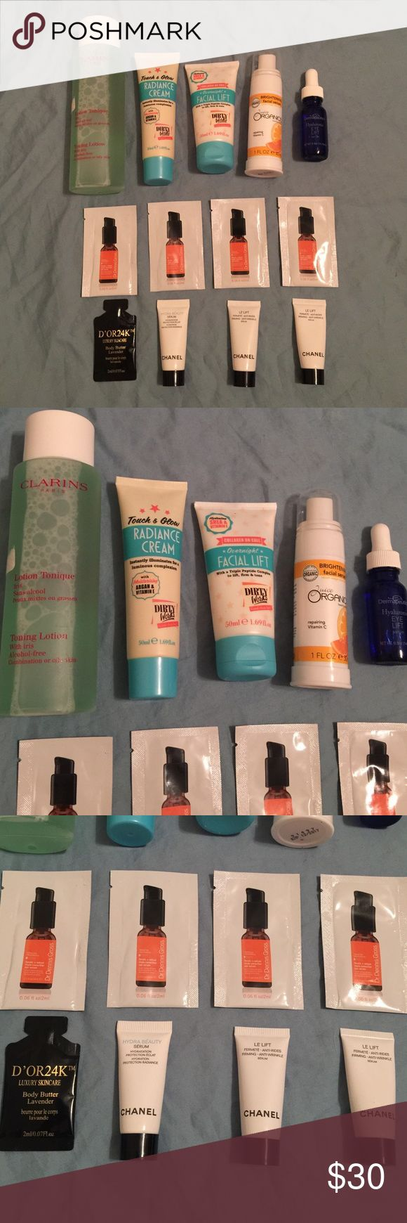 Lot of beauty care CHANEL CLARINS DIRTY WORKS Lot of face care products. Lot of 13 pieces! Includes: 1x CLARINS Paris Toning Lotion with iris alcohol-free 200ML. 1x DIRTY WORKS radiance cream 50ML. 1x DIRTY WORKS overnight facial lift 50ML. 1x Juice Organics brightening facial serum 30ML.  1x Dermaleutics hyaluronic eye lift serum 14.78ML. 4x Dr.Dennis Gross ferulic + retinol triple correction serum 15ML EACH. 2x CHANEL LE LIFT 5ML EACH. 1x CHANEL HYDRA BEAUTY SERUM 50ML. 1x D'OR 24K body…