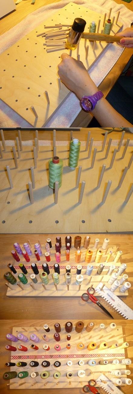 Garnrollen-Halter aus einer 2cm dicken Multiplexplatte....und 64 Holzstäbchen...  Selfmade yarn holder with 64 pins