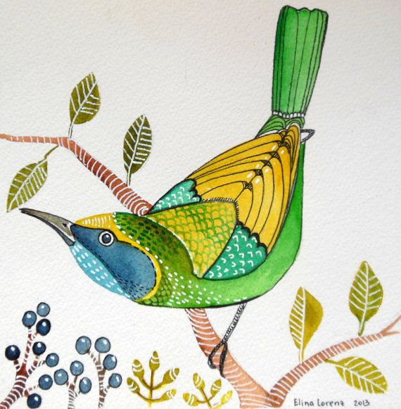 Green Leaf Bird / Bird Art / Original Watercolor Painting / Wall Art / Room Decor / Gift via Etsy