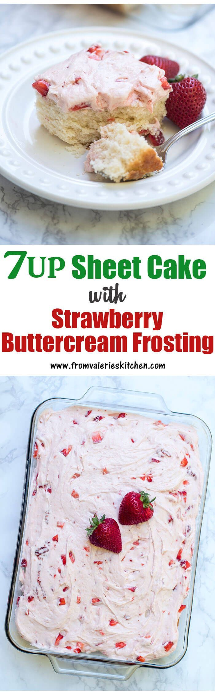 A moist and tender white cake with an easy strawberry buttercream frosting. This 7UP Sheet Cake will be a hit at your next gathering! #ad @7up #mixitupalittle