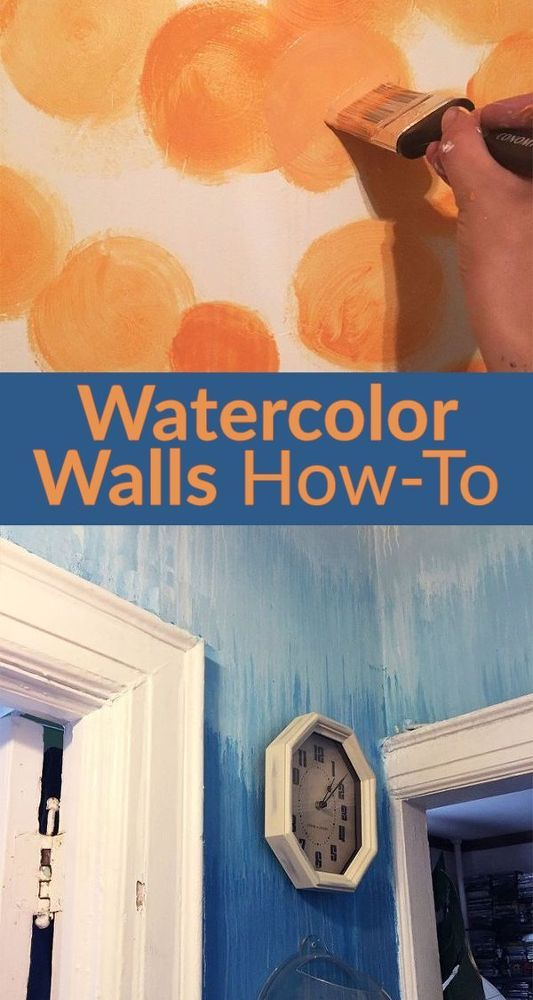 Watercolour Paint Effect on walls Love the idea and the blue wall in tutorial is lovely but I wouldn't consider the orange wall to have a  watercolour effect and I don't like that example.  Great concept to consider tho.
