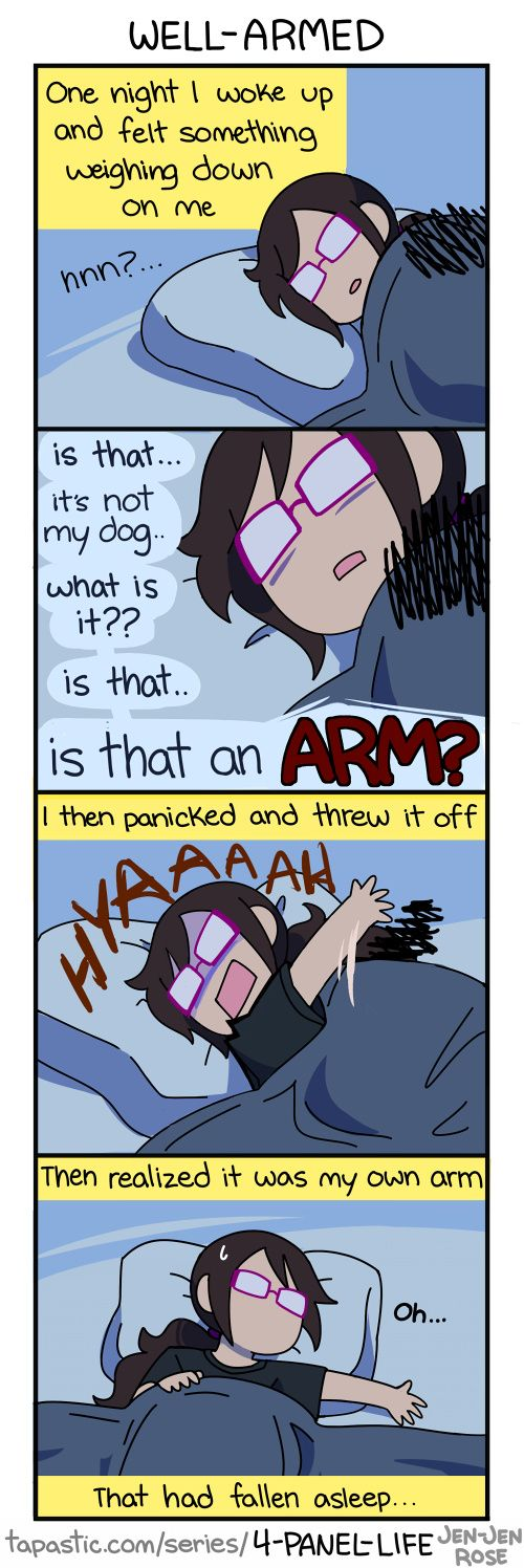 "Check out the comic ""4-Panel Life :: WELL-ARMED"" http://tapastic.com/episode/73519"