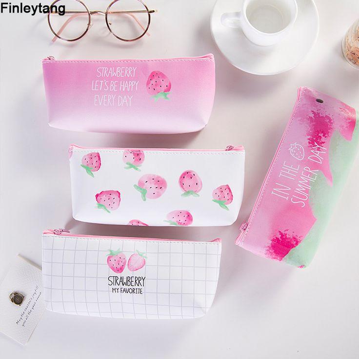 New Pencil Case Fresh Strawberry PU Stationery Pencil Bag Luggage Bag Organizer Boy and Girl Pencil Case Study Supplies Box HOT