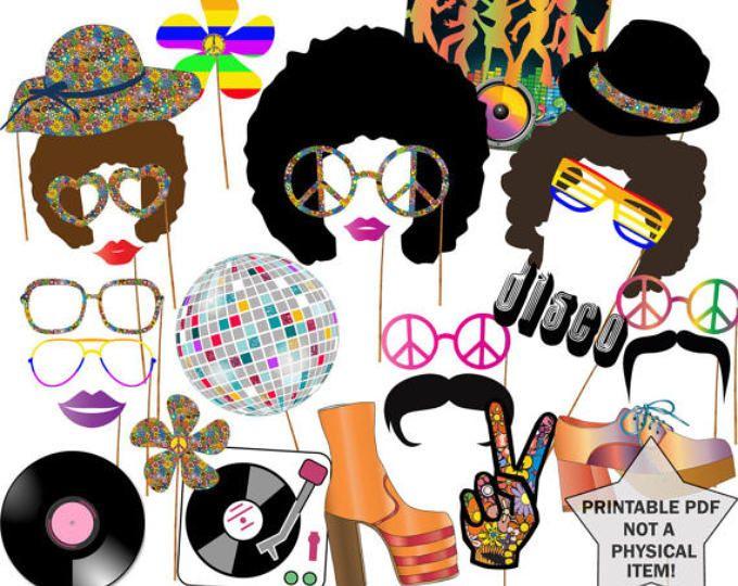 """años 70 apoyos de la cabina de fiesta Foto: """"DISCO partido apoya"""" Hippie Party discoteca fiebre Disco bola Afro peluca imprimible pdf tema de 1970 foto stand 70"""