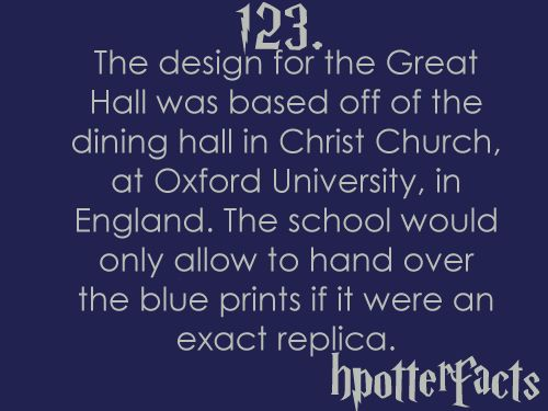 Harry Potter Facts 123 The Design For The Great Hall Was