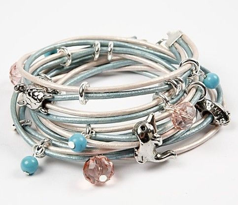 A leather bracelet with charms