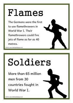 A set of 18 printable fact cards that give fun and interesting facts about World War I. Each fact card has a key word heading, making this set a fantastic topic word bank/ word wall as well! Visit our TpT store for more information and for other classroom display resources by clicking on the provided links.