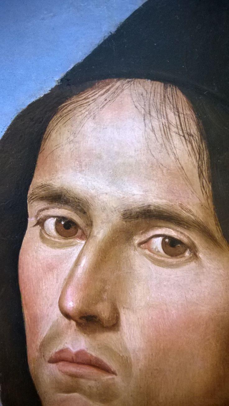 Portrait of Lorenzo Credi 1488 by Pietro Perugino (Cittá della Pieve 1450 - Fontignano 1523) Oil on Panel transfererred to canvas  Widener Collection National Art Gallery Washington Detail