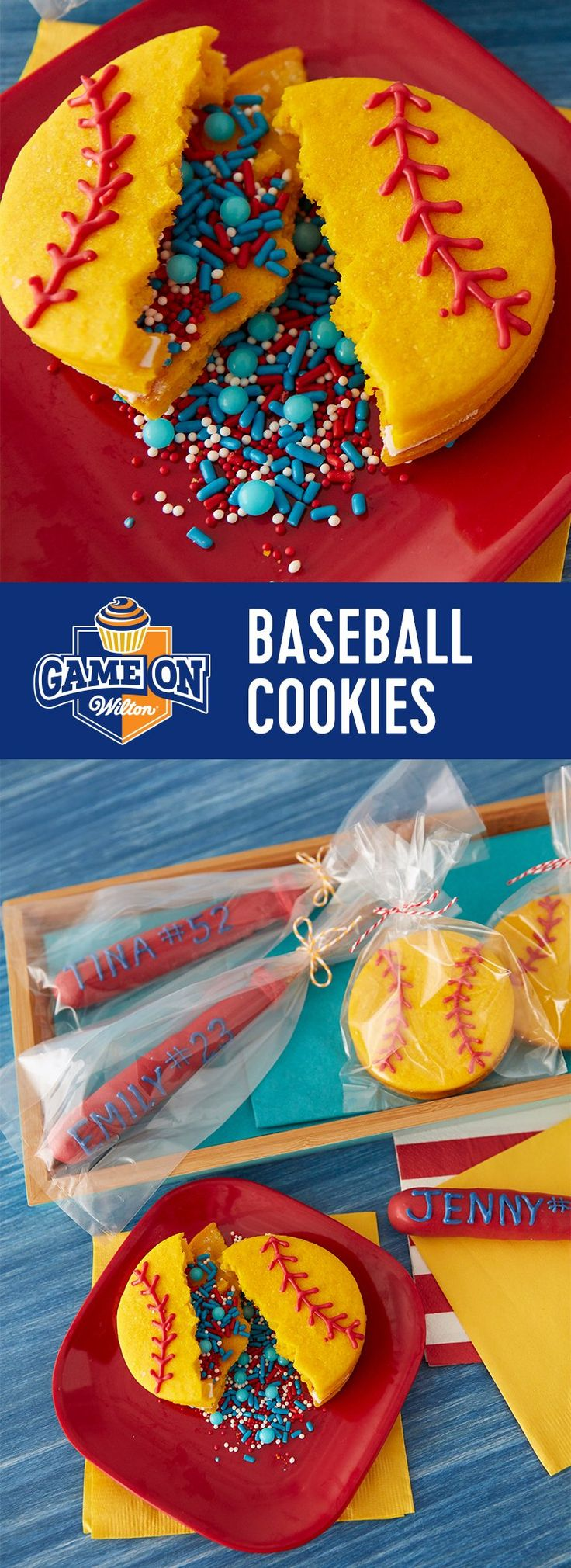 Pinata Baseball Cookies - Playoffs are around the corner! Here's how to extend the winning streak...decorate tasty pretzel bats and hide sprinkles inside ball cookies for the next playoff party!