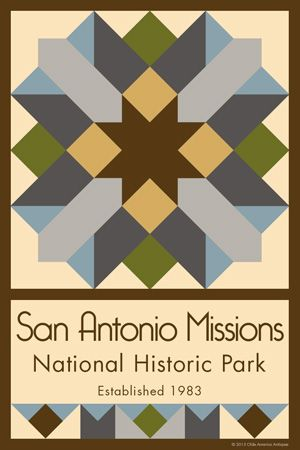 San Antonio Missions National Historic Park Quilt Block designed by Susan Davis. Susan is the owner of Olde America Antiques and American Quilt Blocks She has created unique quilt block designs to celebrate the National Park Service Centennial in 2016. These are the first quilt blocks designed specifically for America's national parks and are new to the quilting hobby.