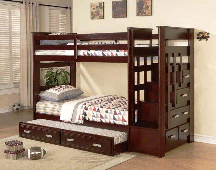I love this bunk bed for KB's big boy room in a couple months...  Grand River Twin Bunk Bed -Stairway feature for the upper bunk with built in storage drawers. $599.99 (www.katyfurniture.com)