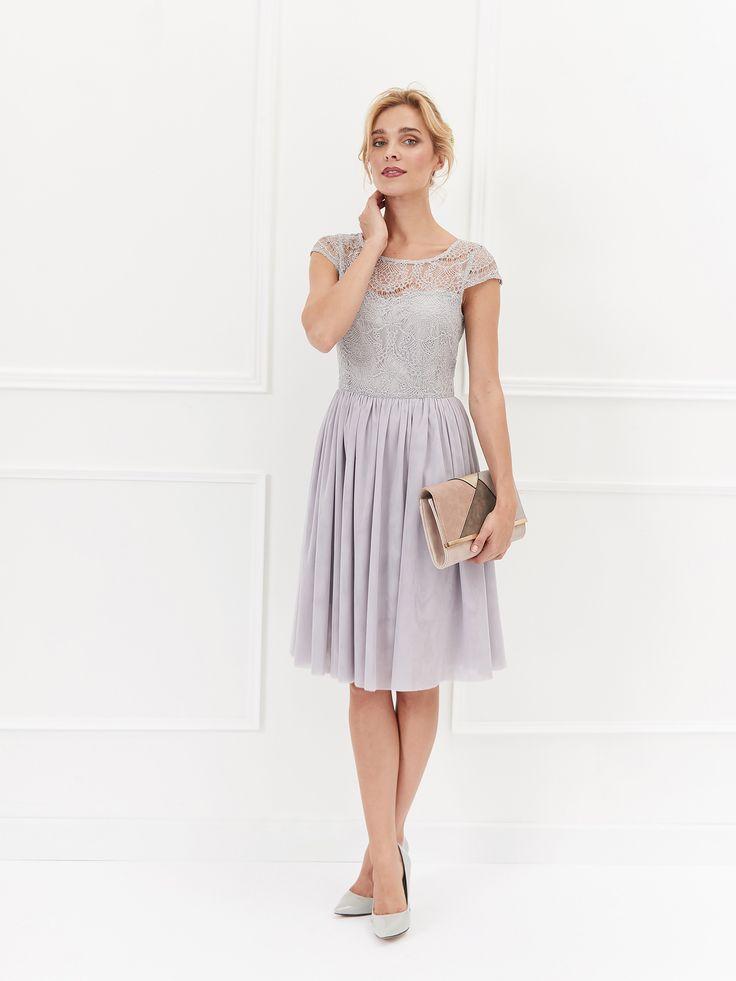 Top Secret szara sukienka tiulowa na wesele elegancka wedding dress grey mini prom dress