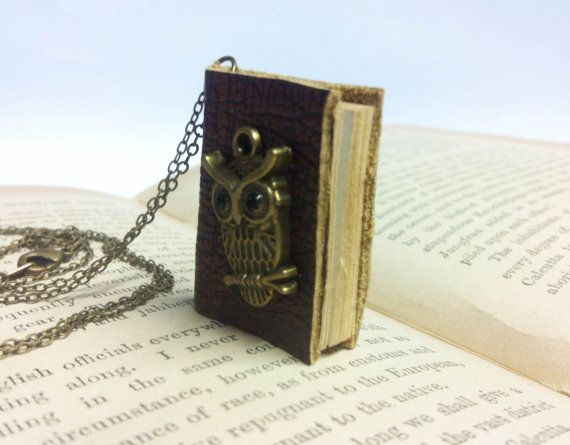 Handmade miniature book necklace made with antique style brown leather.