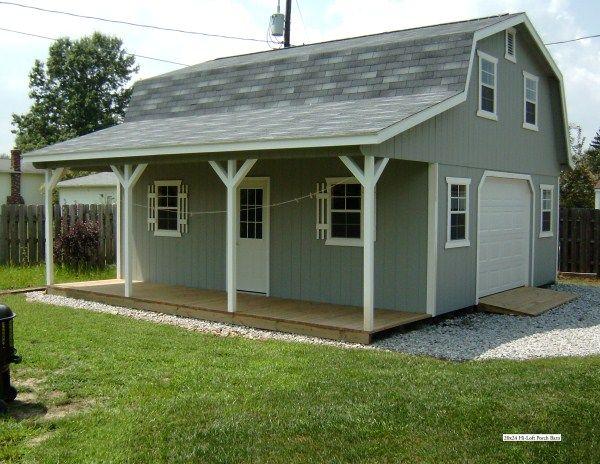 Hi Loft Porch Barn Style Cabin In 2019 Amish Barns