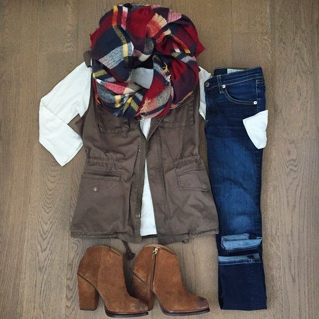 Fall/Winter Outfit~Utility Vest + Plaid Scarf + Jeans+Ankle Boots