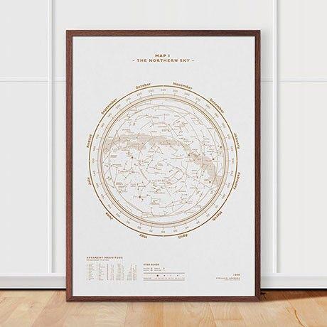 Poster sterrenstelsel N. Hemisphere Print - White by Stellavie   MONOQI