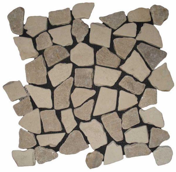 Mozaiek Riverstones white en tamarin combi marmer getrommeld mixed maten