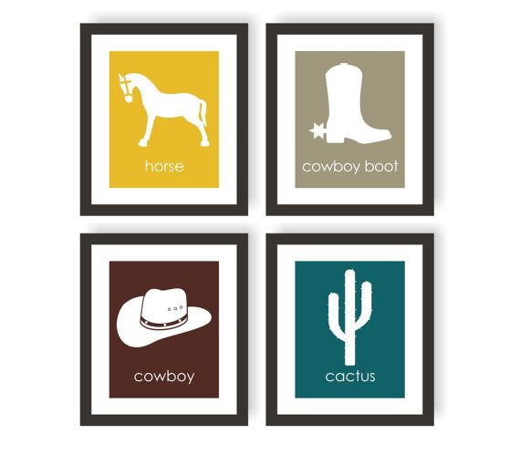 Cowboy Room Decor  - You can choose the colors! -Western Wall Art by…