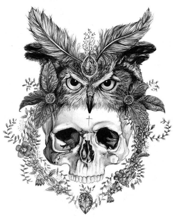 Skull in an Owl Headdress A3 Giclee Print – Sizewell Illustration Club