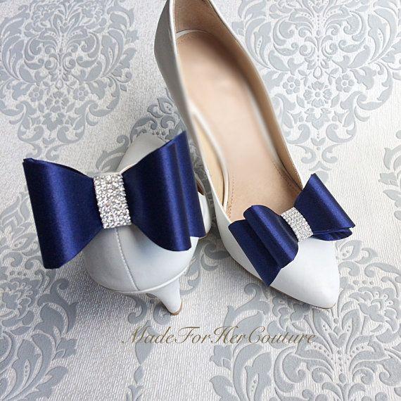 Navy Blue Shoe clips wedding shoe clips shoe by MadeForHerCouture