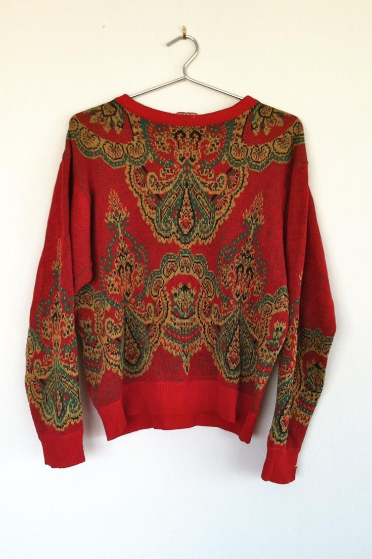 Vintage 1980s Kenzo paisley wool sweater, m. $56.00, via Etsy.