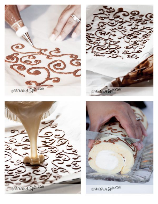 Une bûche au décor original. (Steps for making Designed swiss roll | With A Spin) (http://withaspin.com/2014/05/05/decorated-swiss-roll/)