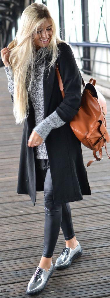 Xeniaoverdose Silver Pointy Oxford Shoes Fall Streetstyle Inspo #Fashionistas