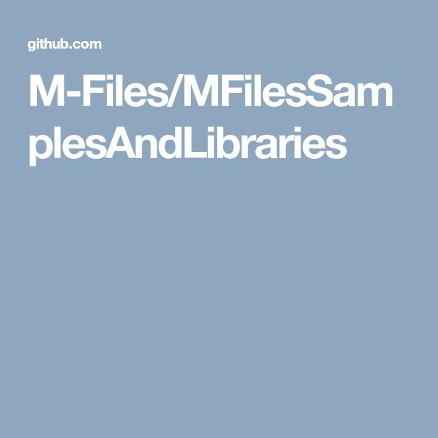 M-Files/MFilesSamplesAndLibraries