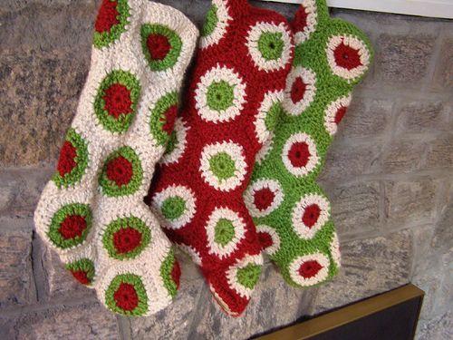 Polka Dot Christmas Stocking - part of a great roundup of free stocking patterns on mooglyblog.com
