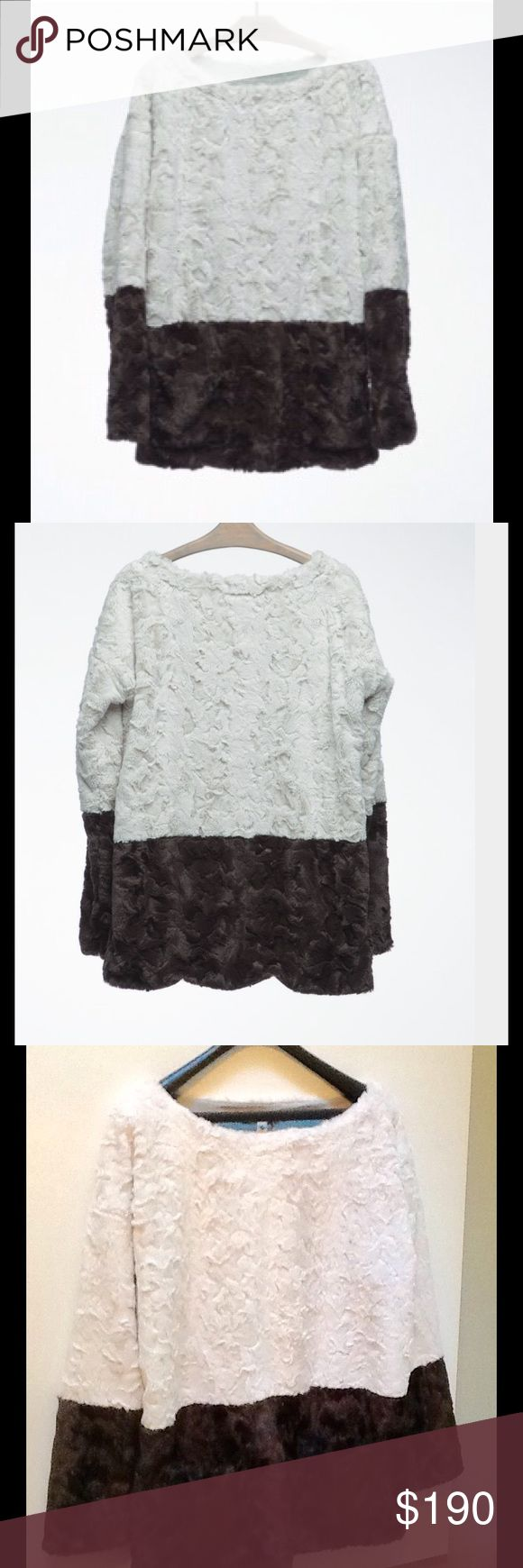 NWT Burning Torch Below Zero PopOver Faux Fur Faux fur popover with a jewel neckline, full length sleeves, two welt pockets and a knit lining. Like a teddy bear you wear! Anthropologie Sweaters Crew & Scoop Necks