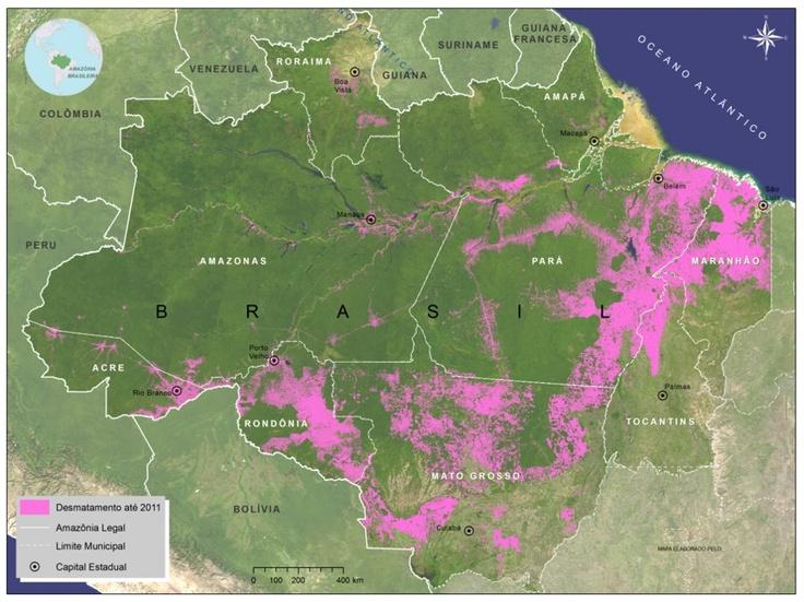 Brazilian Amazon deforestation map   12GEO: deforestation ...