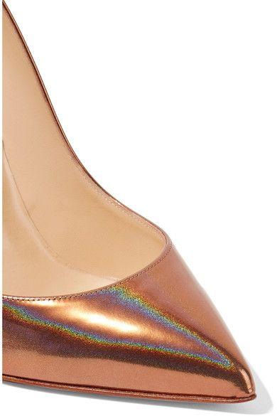 Christian Louboutin - Pigalle Follies 100 Metallic Patent-leather Pumps - Bronze - IT40.5
