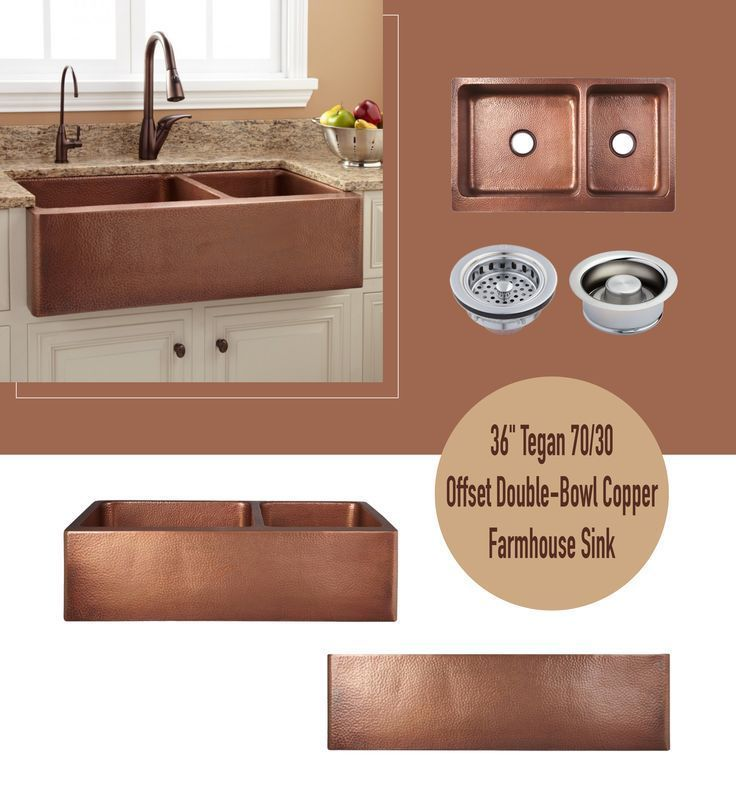 36 Tegan 70 30 Offset Double Bowl Hammered Copper Farmhouse Sink