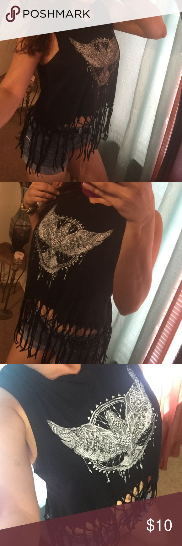 "⛔H&M Black Eagle Dream Catcher Fringe Tank Top New with out tags-100% cotton-BUST:20""- LENGTH:26"" H&M Tops Tank Tops"