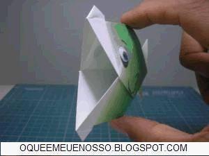 origami animado peixe beijador
