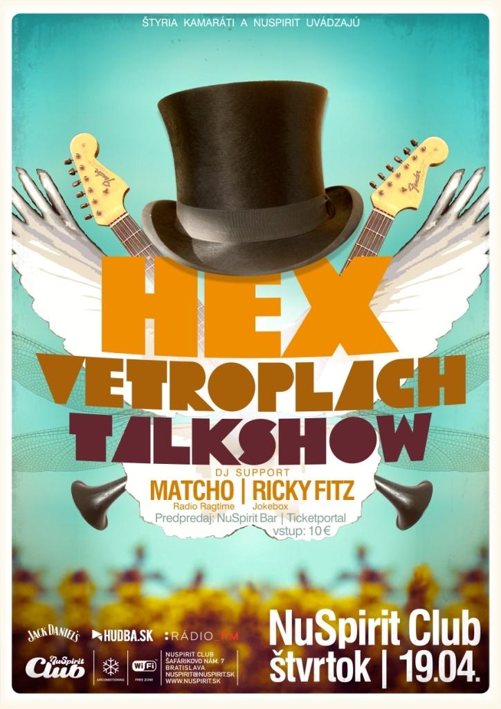 Hex Vetroplach Tlkshw NuSpiritClub Bratislava Concert Poster 19.4.2012