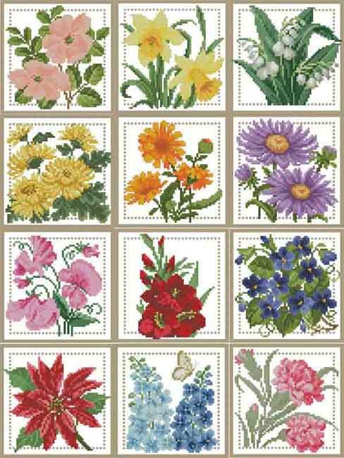 Схемы вышивок '12 цветков года'