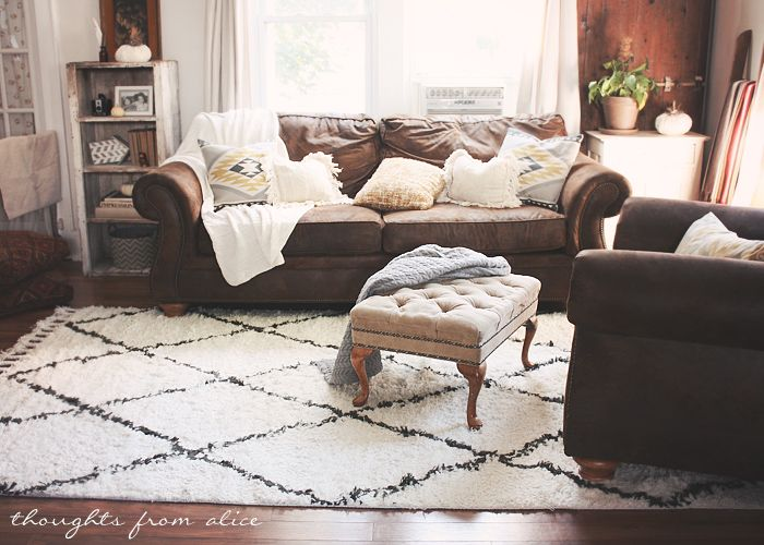 Boho Chic Living Room Makeover Finding The Perfect Rug Brown Couch
