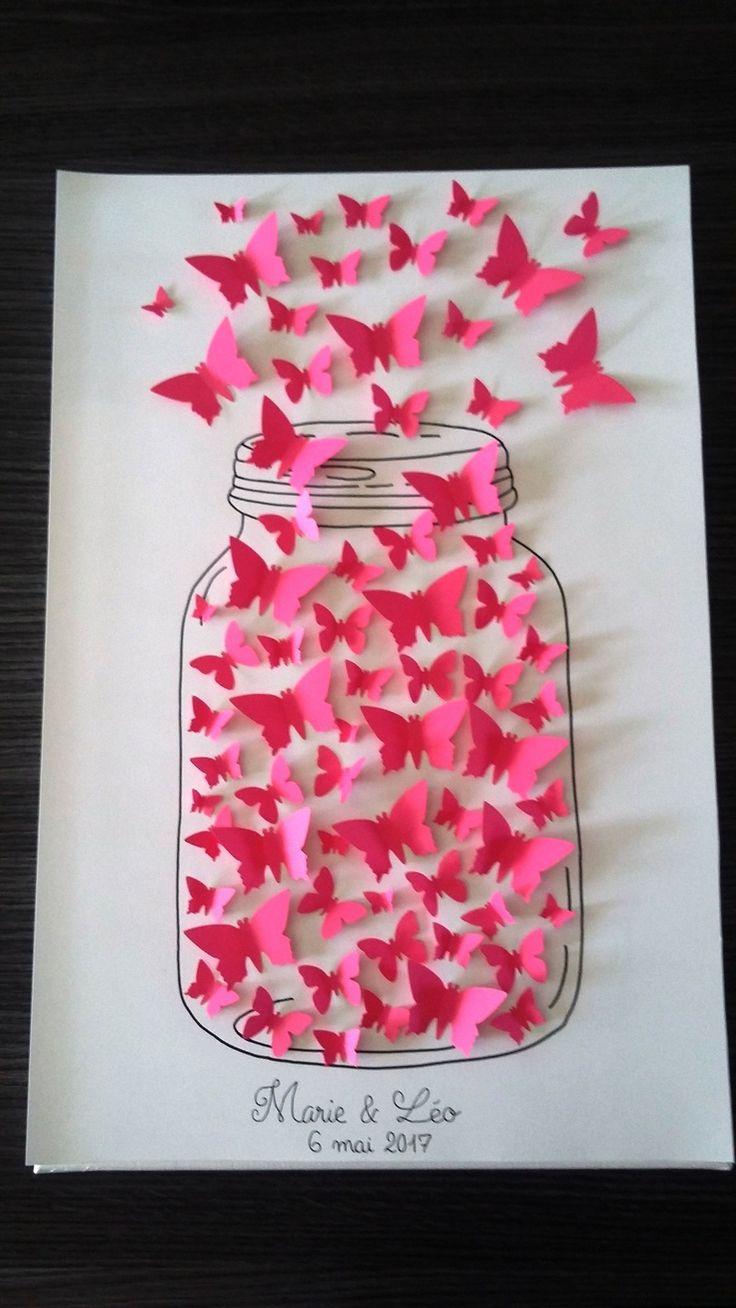 """livre d'or - arbre à signature 3d- arbre à empreintes papillons """" notre réserve d'amour """" : Décorations murales par stefebricole"""