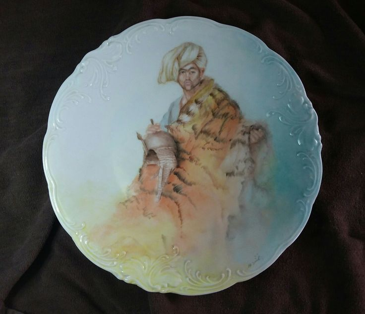 Hand painted on porcelain by Nellie. Pelt Merchant of Cairo  based on painting by Jean Leon Gerome.