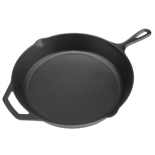 Cast-Iron Skillet; this is my choice of pan. goes well with the enamel dutch oven, for when you want chili AND cornbread