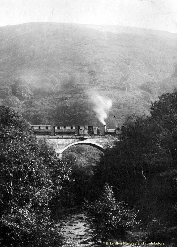 An early view of No.1 on a Tywyn-bound train on Dolgoch viaduct - date unknown