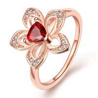 2015 Красное Сердце CZ Алмазные обручальные Кольца для женщин Роуз позолоченные Цветочные Кольца женские Ювелирные Изделия Анель Aneis высочайшее качество