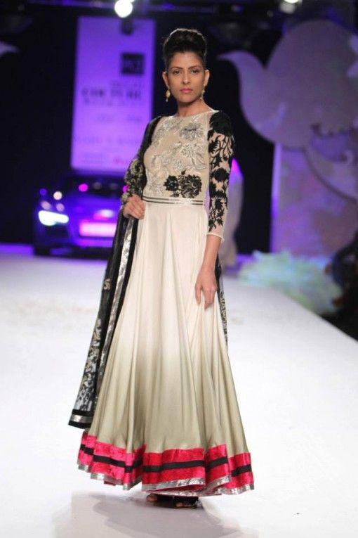 Delhi Couture Week 2013: Varun Bahl white grey pink ombre anarkali